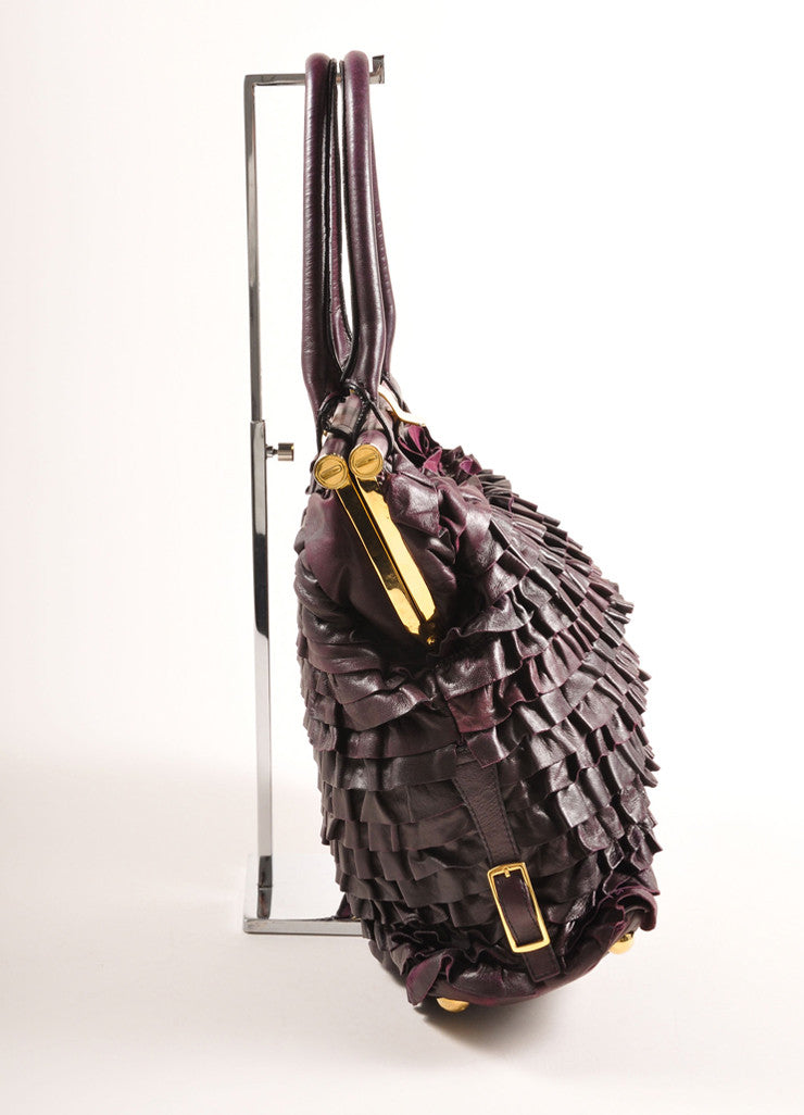 "Valentino Dark Purple Ruffle Leather ""Allure"" Frame Satchel Tote Bag Sideview"