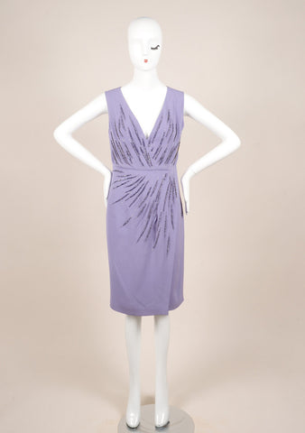 Valentino Lilac Silk Rhinestone Embellished Sleeveless V-Neck Wrap Dress Frontview