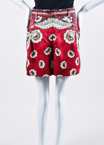 Red, Cream, and Black Valentino Floral Print High Waisted Silk Shorts Frontview