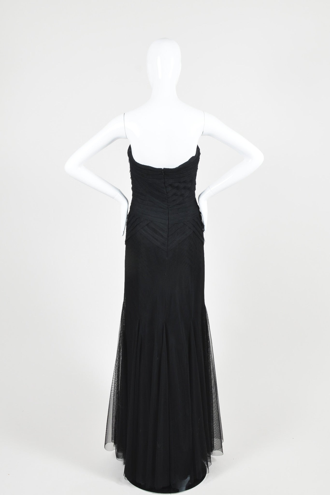 Black Vera Wang Layered Tulle Paneled Strapless Evening Gown Backview