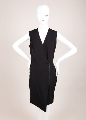 Veronica Beard New With Tags Black Nylon Scuba Zip Front Sleeveless Dress Frontview