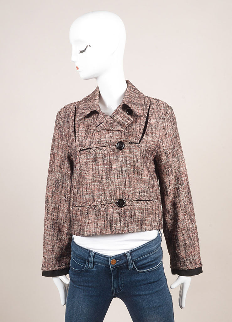 Chanel Pink And Black Woven Knit Tweed Cropped Long Sleeve Jacket Frontview