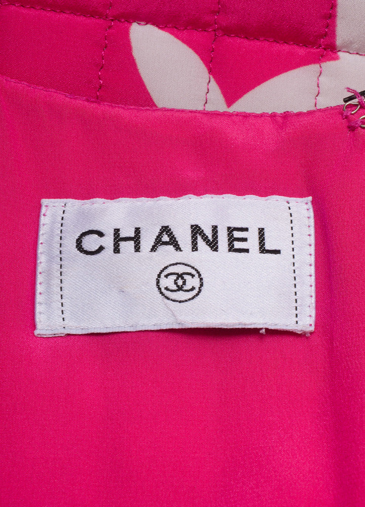 Chanel Pink, White, and Teal Floral Print Silk Quilted Dress Brand