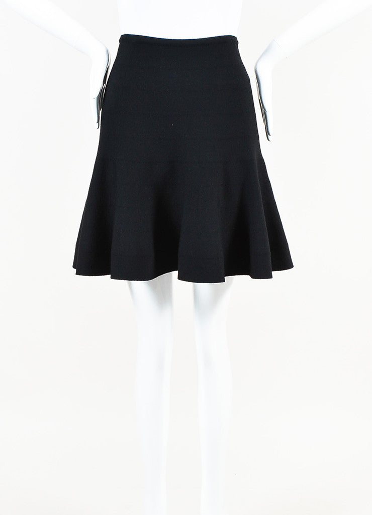 Alaia Black Wool Knit Flare Skirt Frontview
