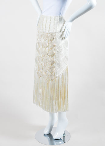 Andrew Gn Cream Wool Crepe Macrame Front Fringe Pencil Skirt Sideview