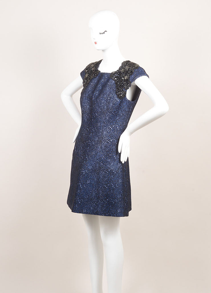 Andrew Gn New With Tags Metallic Blue and Black Cotton Beaded Shoulder Dress Sideview