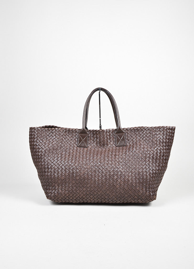 "Brown Leather Bottega Veneta ""Intrecciato Cabat"" Woven Medium Tote Bag Frontview"