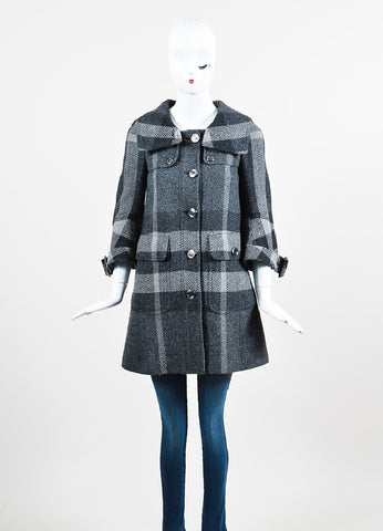 Heather Grey Burberry Wool Plaid Check Button Down Swing Coat Frontview 2