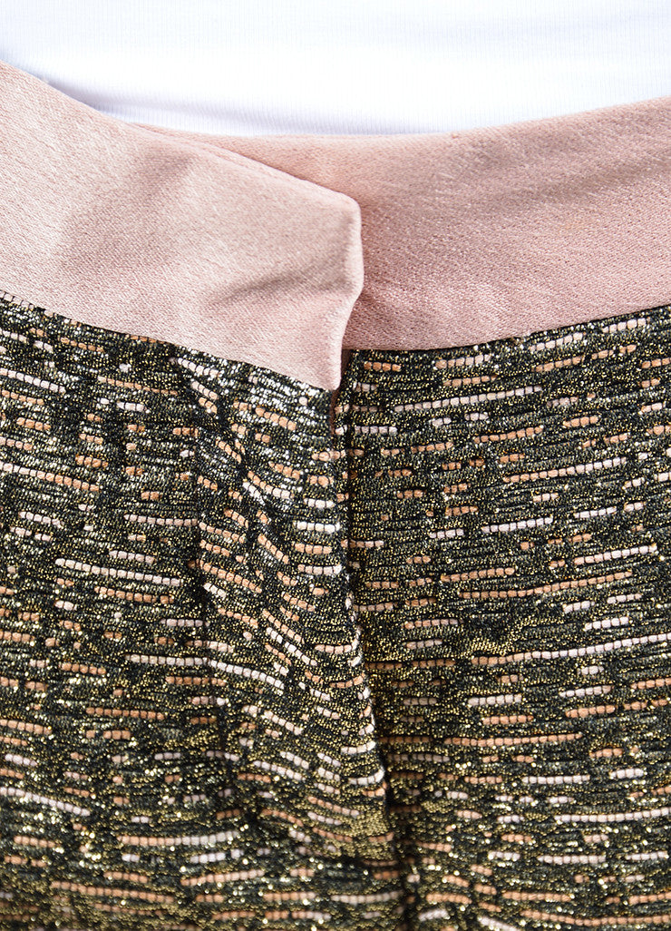 "Gold Metallic and Blush By Malene Birger Jacquard Cropped ""Cortensa"" Pants Detail"