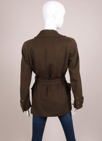 "Chanel Army Green Fleece Gold Toned ""CC"" Button Belted Jacket Backview"
