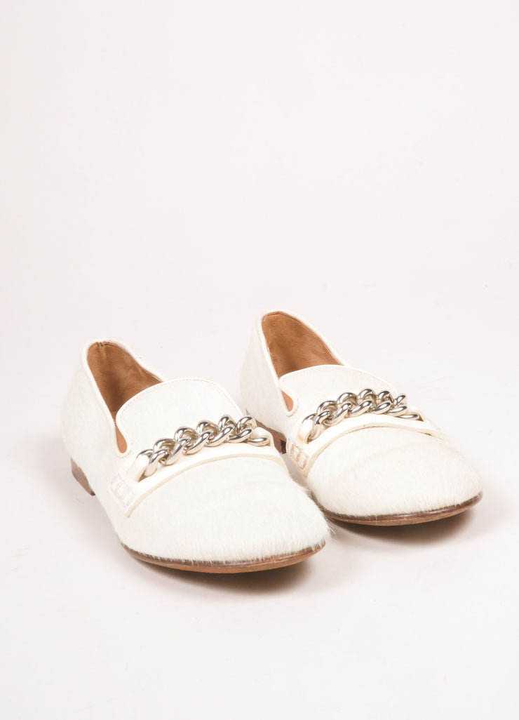 Celine Cream Pony Hair Chain Loafers  Frontview