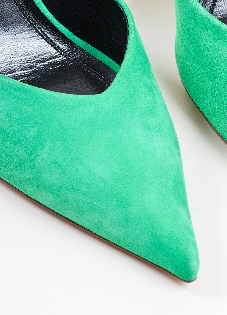 Green Celine Suede Pointed Toe D'Orsay 90mm Pumps Detail