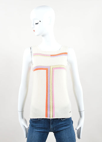 Chanel Cream Multicolor Cashmere Striped Sleeveless Top Front
