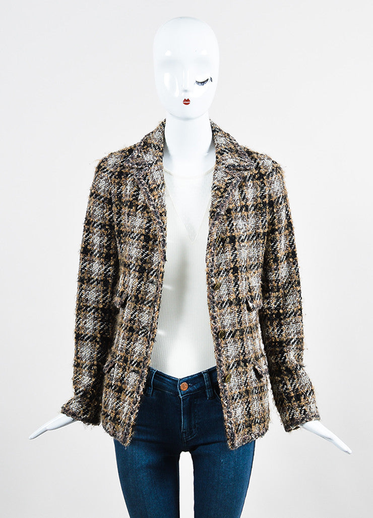 Black, Brown, and White Chanel Tweed 'CC' Button Jacket Frontview