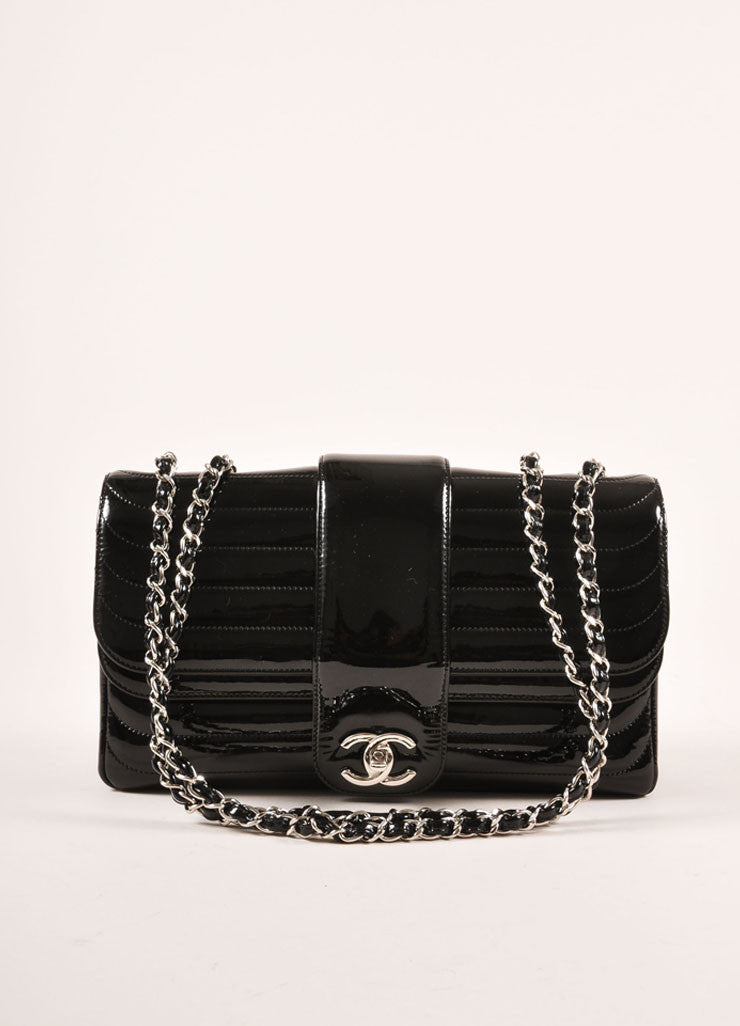 "Chanel Black and Silver Toned Quilted Patent Leather Chain Strap ""CC"" Flap Bag Frontview"