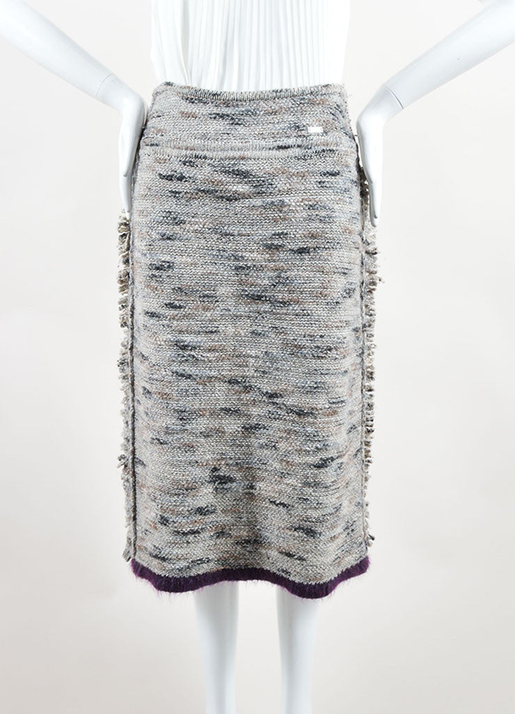 Chanel Grey and Purple Stretch Wool Fringe Pencil Skirt Frontview