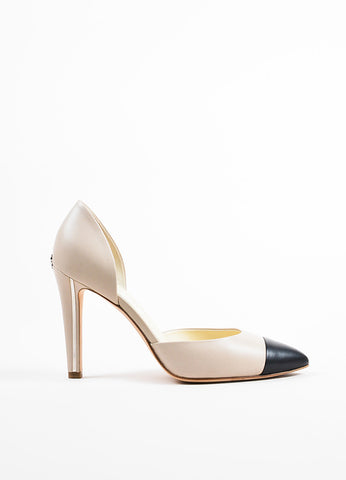 Chanel Taupe and Black Leather Cap Toe Metal Accent D'Orsay Pumps Sideview