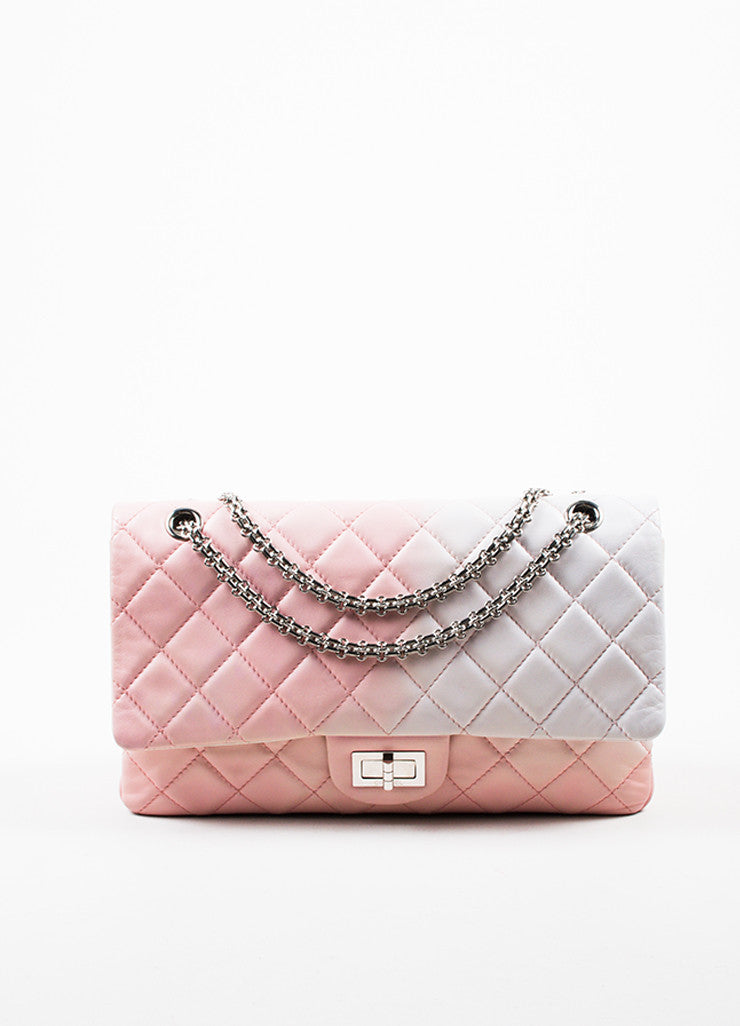 "Chanel Pink and White Leather Ombre Degrad̩ ""2.55 Reissue 227"" Jumbo Double Flap Bag Frontview"