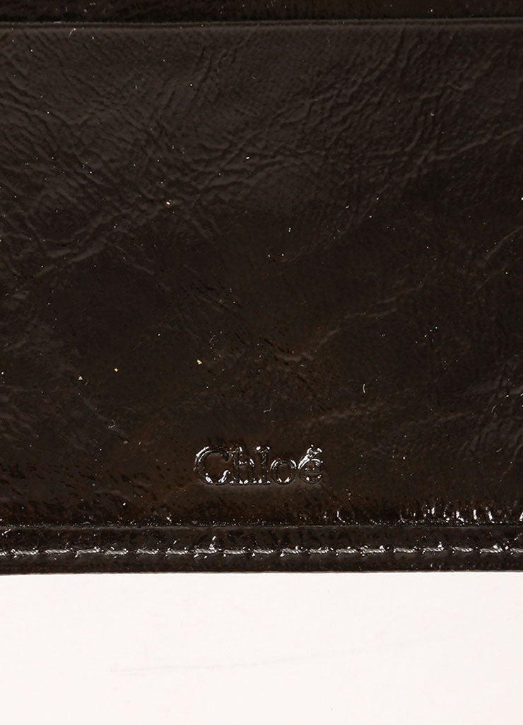 Chloe Black and Brass Tone Patent Leather Flap Continental Wallet Brand