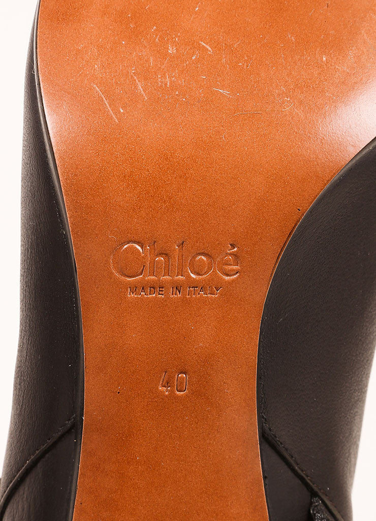 Chloe Dark Brown Leather Harness Mid Calf Boots Brand