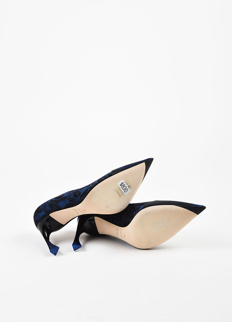 "Navy Blue Christian Dior ""Marine"" Floral Jacquard Heel Pumps Sole"