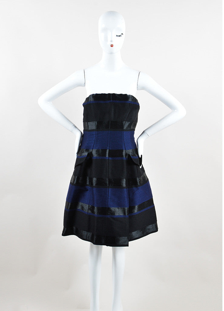 Christian Dior Navy Blue and Black Wool Striped Strapless Dress Frontview