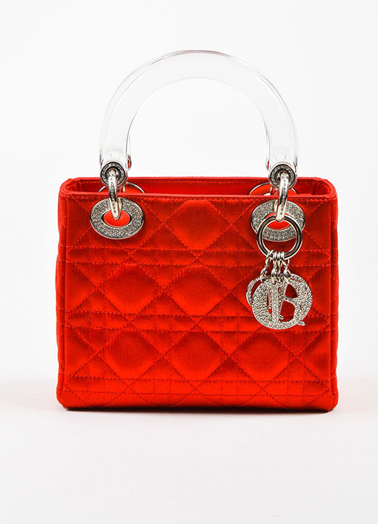 "Christian Dior Red Satin Quilted Acrylic Handle Rhinestone ""Mini Lady Dior"" Bag Frontview"