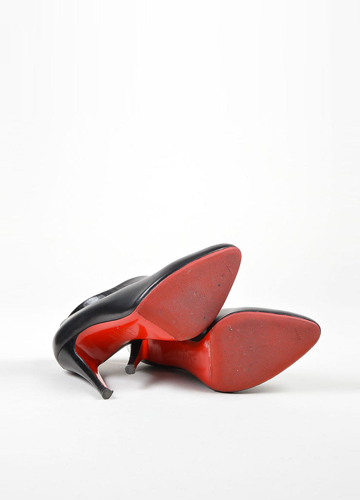 "Black Christian Louboutin Leather ""Miss Zorra"" Booties Outsoles"
