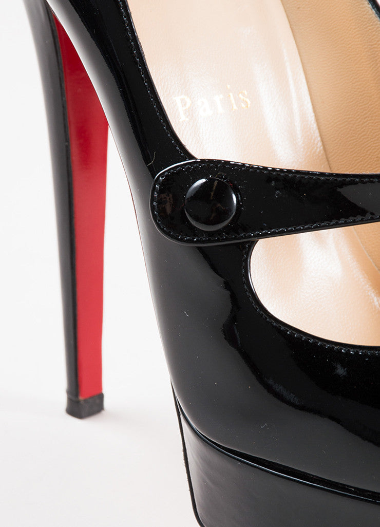 "Black Christian Louboutin Patent Leather ""Relika 140"" Mary Jane Pumps Detail"