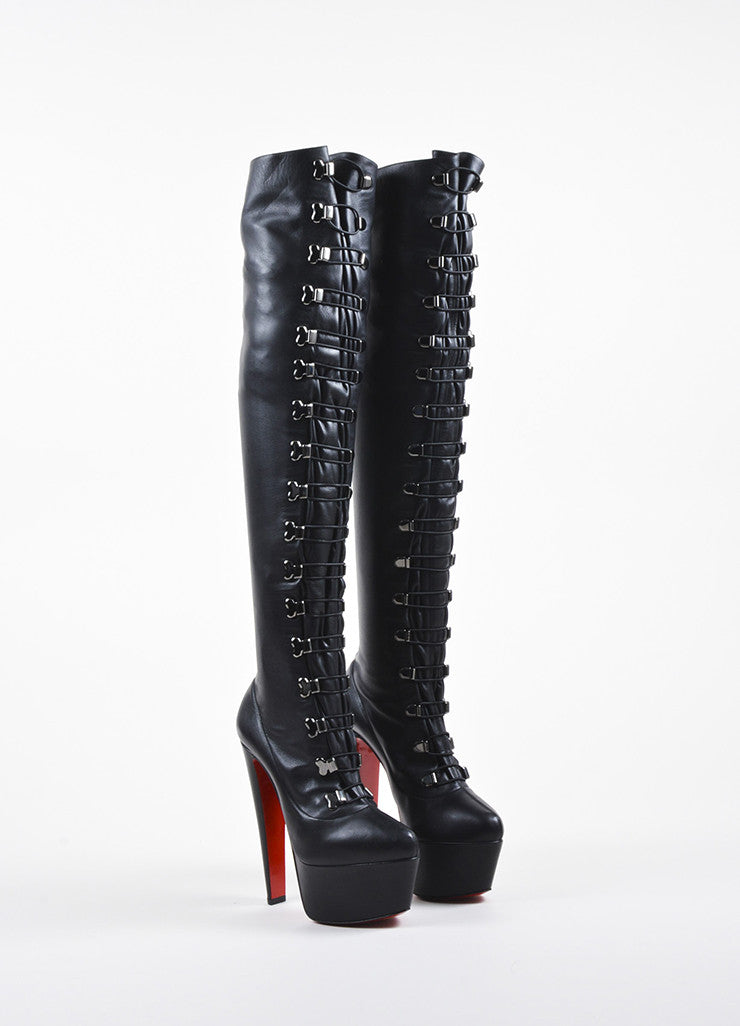 "Black Christian Louboutin Leather ""Maxicroche"" Thigh-High Boots Frontview"