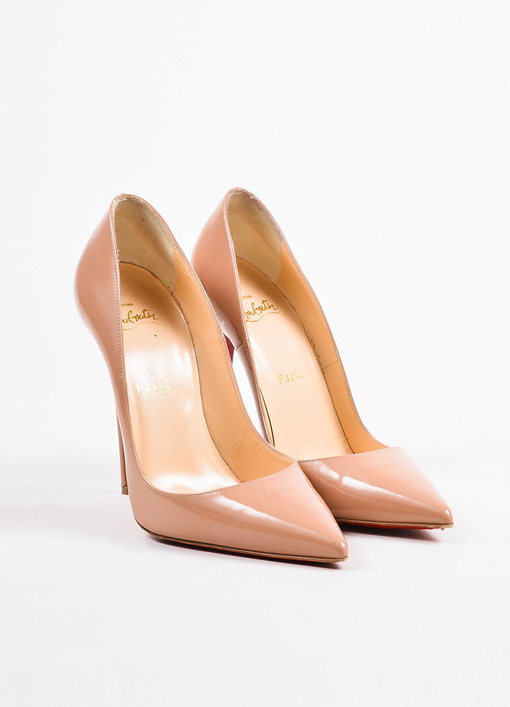 "Christian Louboutin Nude Patent Leather ""So Kate 120"" Pointed Toe Pumps Frontview"