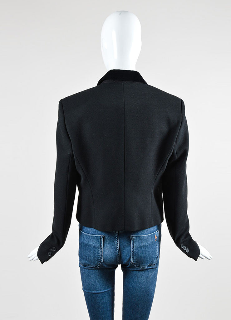 Black and Red Christopher Kane Wool Velvet Long Sleeve Blazer Jacket Backview