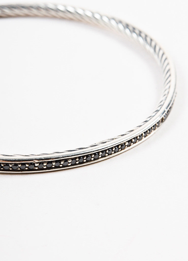 "David Yurman Sterling Silver and Black Diamonds ""Cable Inside"" Bangle Bracelet detail"