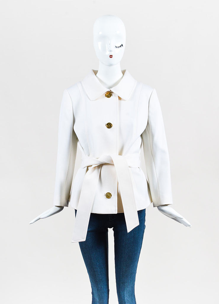Dolce & Gabbana White Virgin Wool 'DG' Buttoned & Belted Jacket Frontview