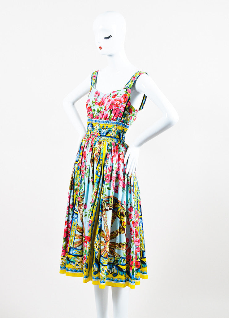 Dolce & Gabbana Multicolor Floral Sleeveless Dress Front