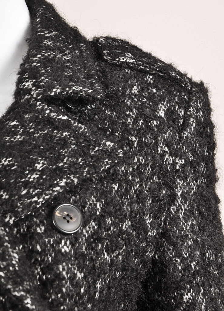Dries van Noten Black and White Woven Knit Blend Double Breasted Coat Detail
