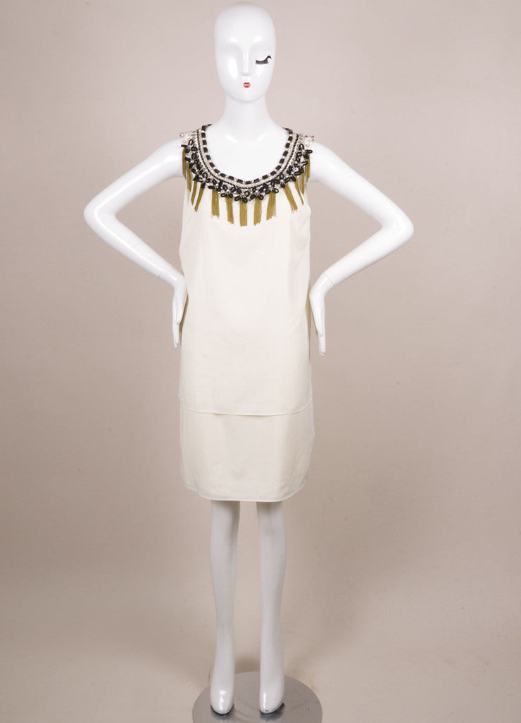 Erin by Erin Fetherson New With Tags Cream Silk Embellished Sleeveless Shift Dress Frontview