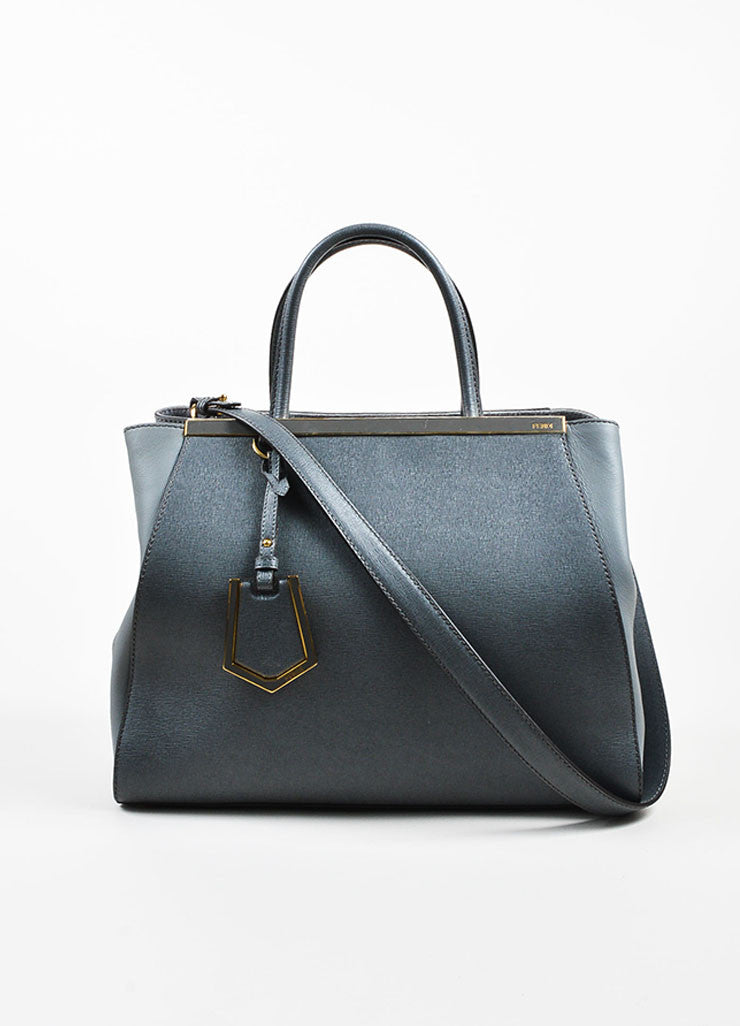 "Fendi Grey and Gold Toned Saffiano Leather ""2Jours Medium Satchel"" Bag Frontview"