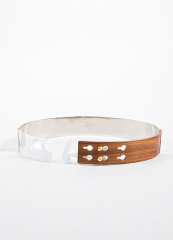 Fendi Silver Toned Metal, Wood, and Marbled Lucite Belt  Frontview