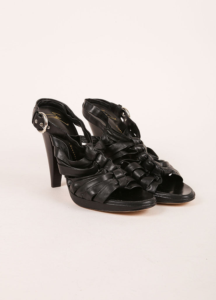 Giuseppe Zanotti Black Leather Strappy Slingback Sandal Heels Frontview