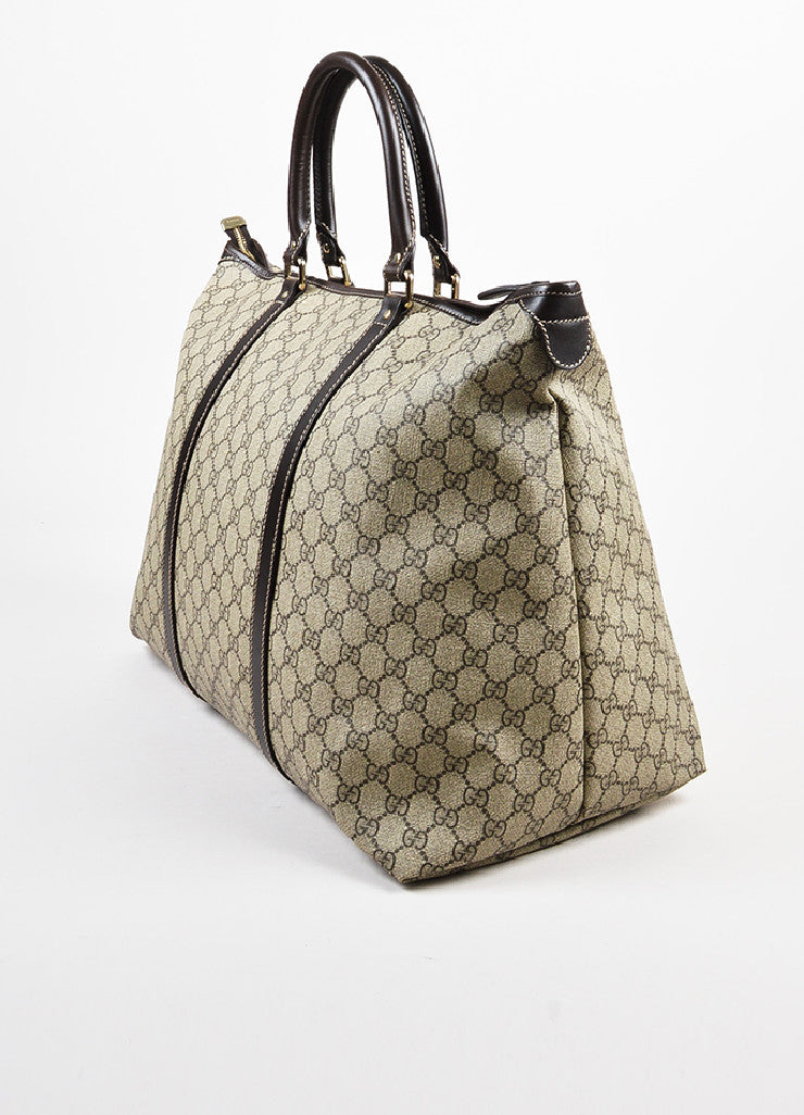 Gucci Ebony Brown & Beige Medium Tote angled