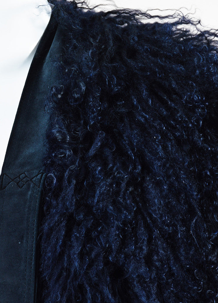 Gucci Navy Blue Shaggy Shearling Fur Suede Tie Sleeveless Shrug Jacket Detail