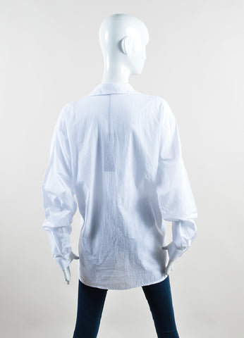 Haider Ackermann White Cotton Oversized Long Sleeve Button Down Shirt Backview