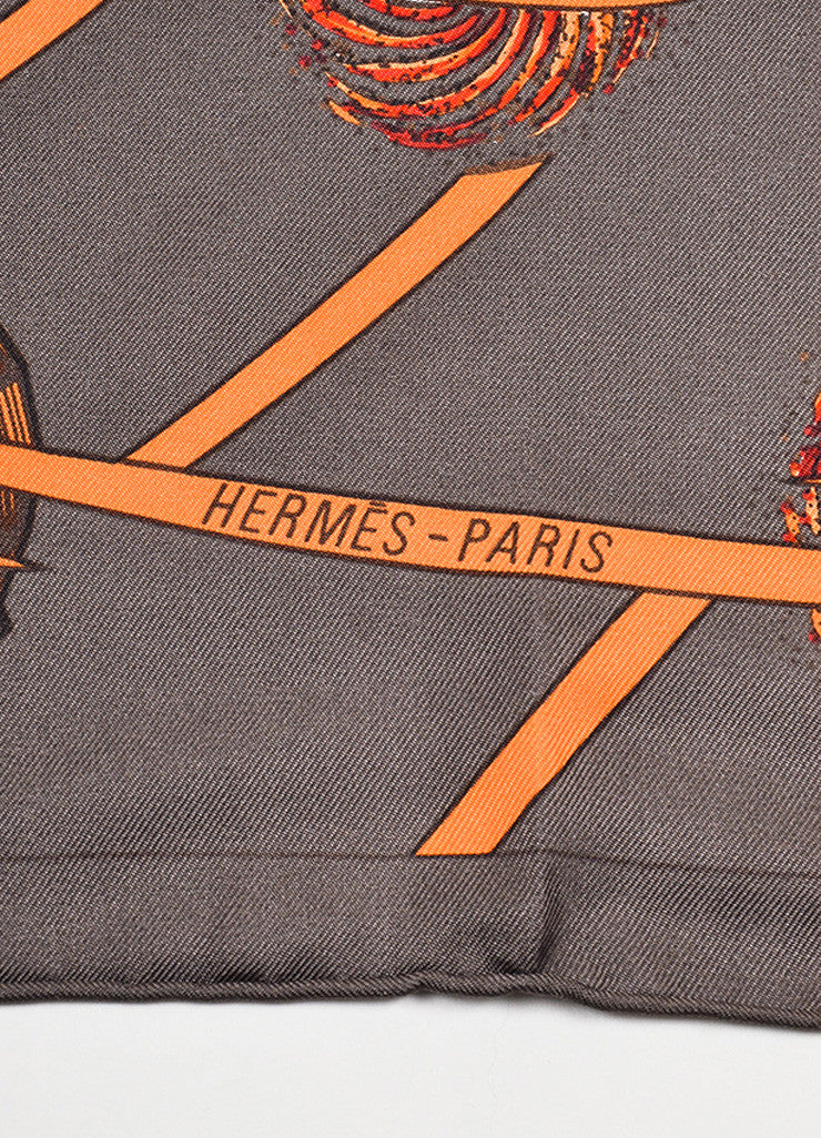 "Brown, Orange, and Red Hermes Silk ""Les Feux de L'Espace"" Printed Scarf Brand"