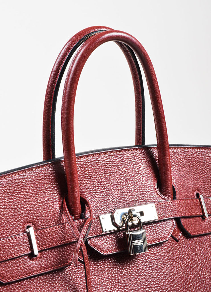 "Hermes Maroon Togo Leather Silver Palladium Hardware 35cm ""Birkin"" Handbag Detail 3"