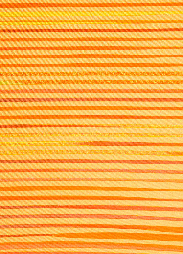 "Orange Hermes Silk Twill Stripe Printed ""Faubourg Express"" 90cm Scarf Detail"