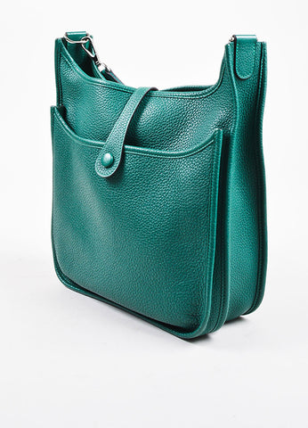 "Hermes Vert Clair Green Clemence Leather ""Evelyne III 29"" Shoulder Bag Side"