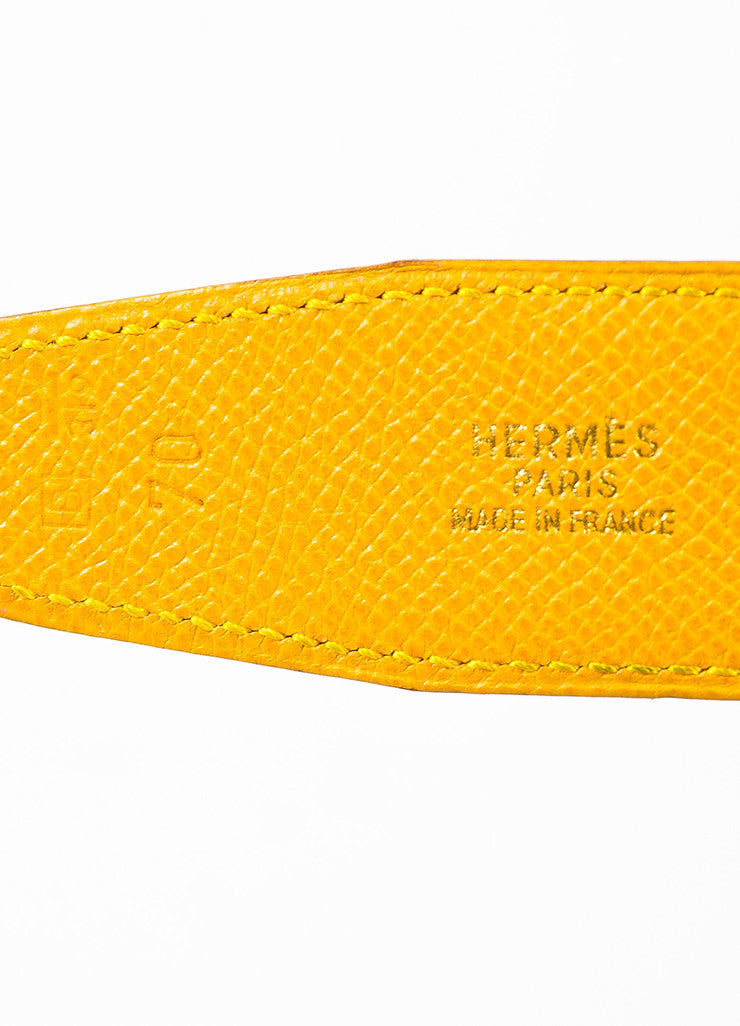 "Hermes ""Jaune D'or"" Yellow and ""Bleu Jean"" Blue Epsom Leather ""Constance"" Belt Brand"