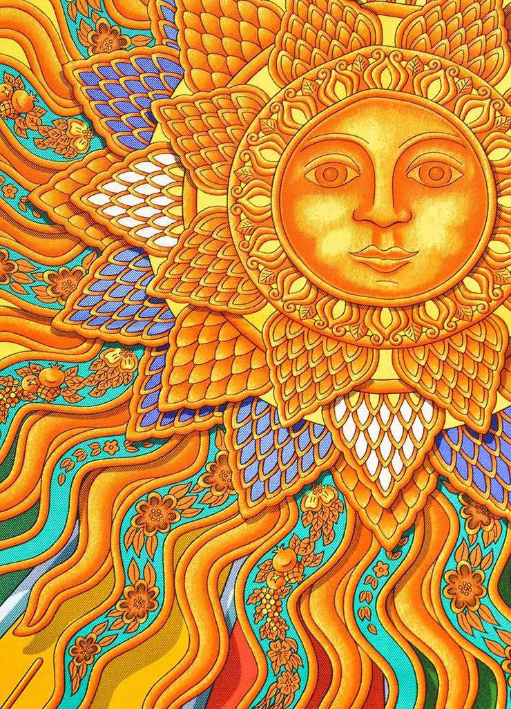 "Hermes Yellow, Orange, and Multicolor Silk Sun Print ""Carpe Diem"" Scarf Detail"