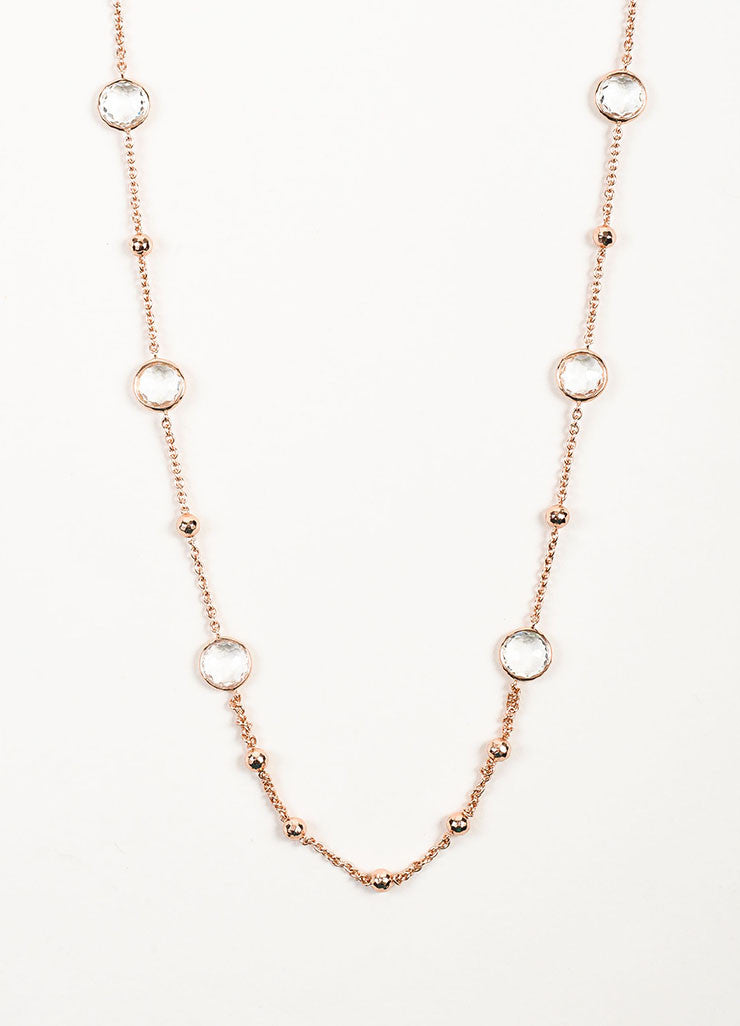 "Ippolita Rose Gold Plated Sterling Silver and Clear Quartz ""Lollipop"" Long Necklace Detail"